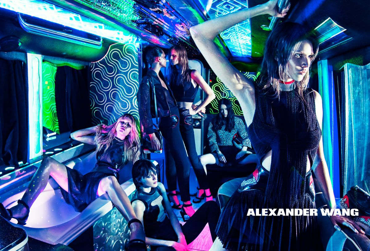 Alexander Wang, A-: No one throws a party like Alex Wang — Anna Ewers! Disco lights! A bathtub! — and he's set out to prove that once again in his latest Steven Klein-lensed campaign that's colorful, fun and tongue-in-cheek. We're hoping to hitch a ride on the designer's party bus come Fashion Week. We can feel the bass already..