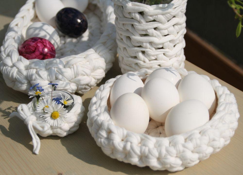Osterkörbchen aus Textilgarn | Ideen rund ums Haus | Pinterest ...
