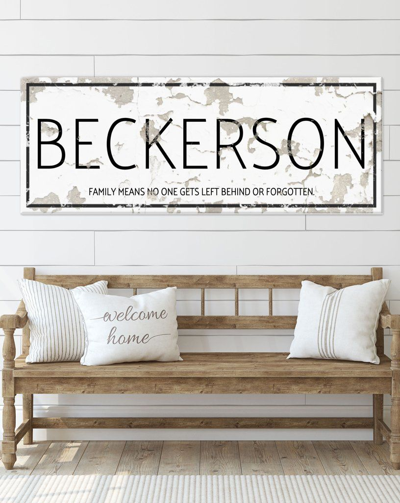 White Chippy Personalized Farmhouse Canvas Wall Art Nlsc0124 In 2020 Name Wall Art Name Signs Personalized Signs For Home