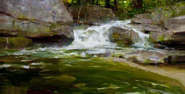 """Richard Schmid """"Buttermilk Falls"""" Oil on linen 12x23"""