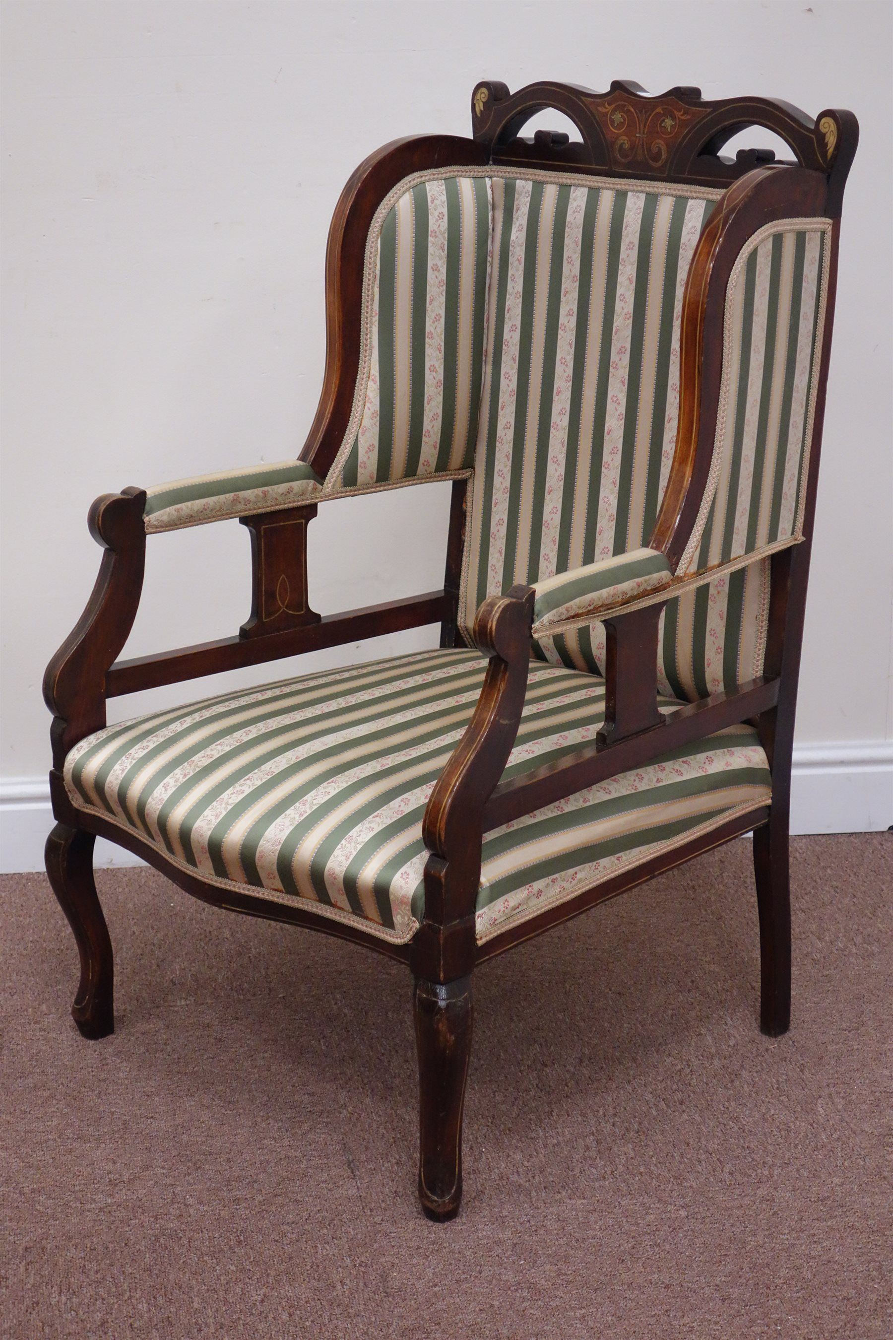 Merveilleux Edwardian Inlaid Mahogany Wingback Armchair Upholstered In Striped Fabric