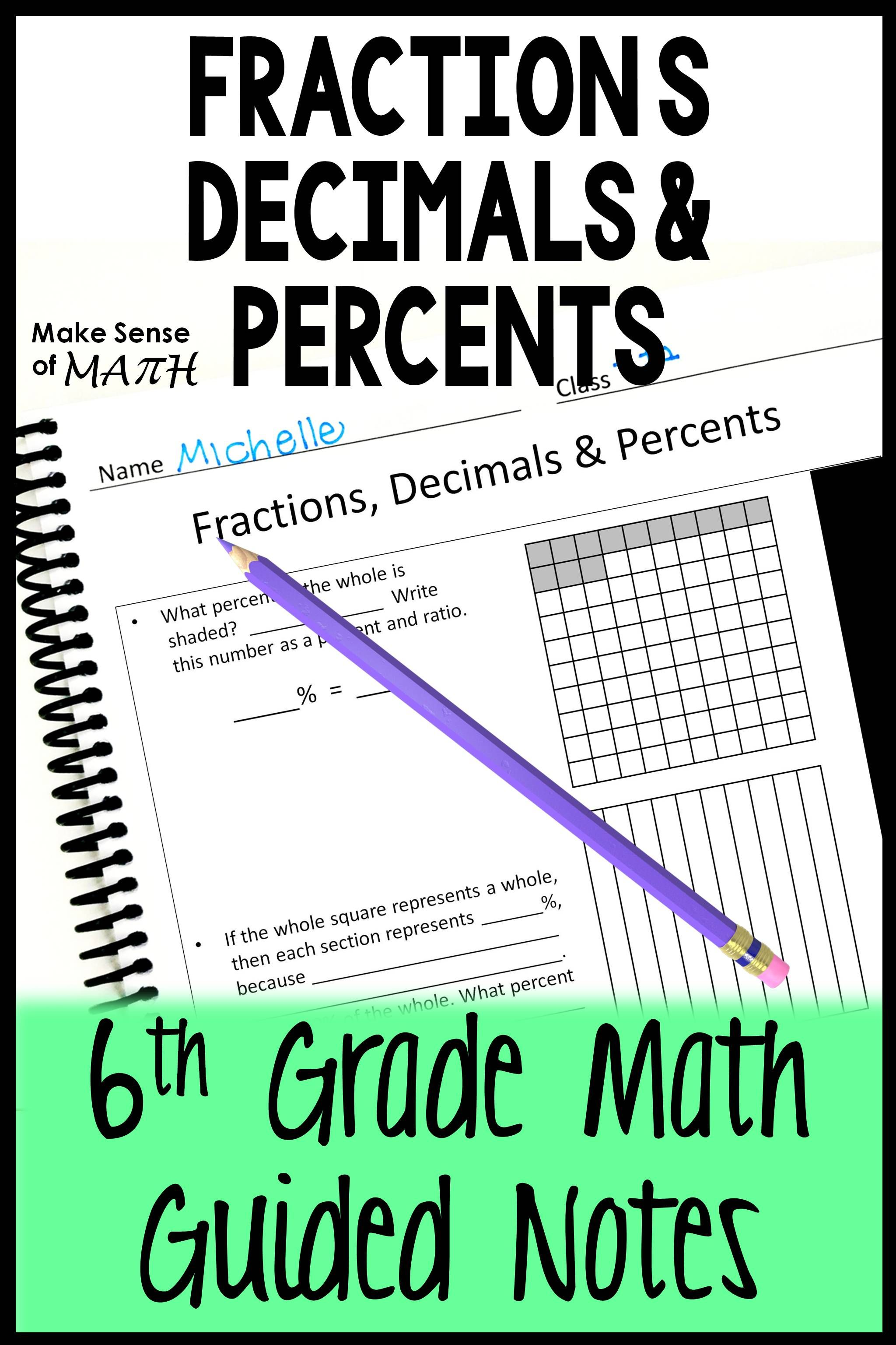 Fraction Decimal Percent Guided Notes