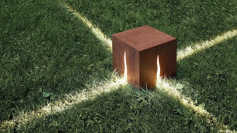éclairage Jardin En Forme De Cube Lumineux En Acier Corten à