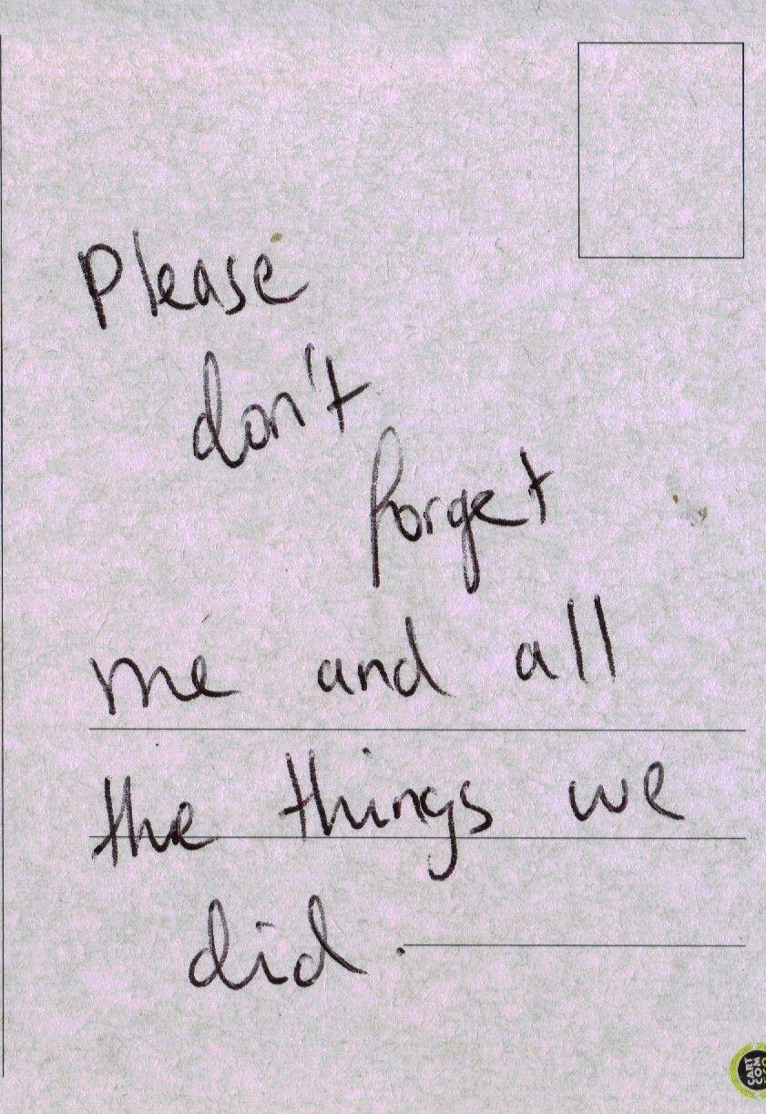 Favor Não Esquecer De Mim E Todas As Coisas Que Fizemos Words
