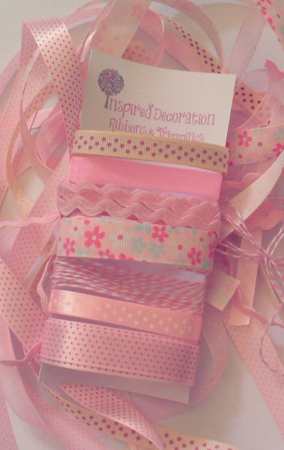 Pretty in Pink Ribbons and Trimmings by InspiredDecoration on Etsy, $7.00