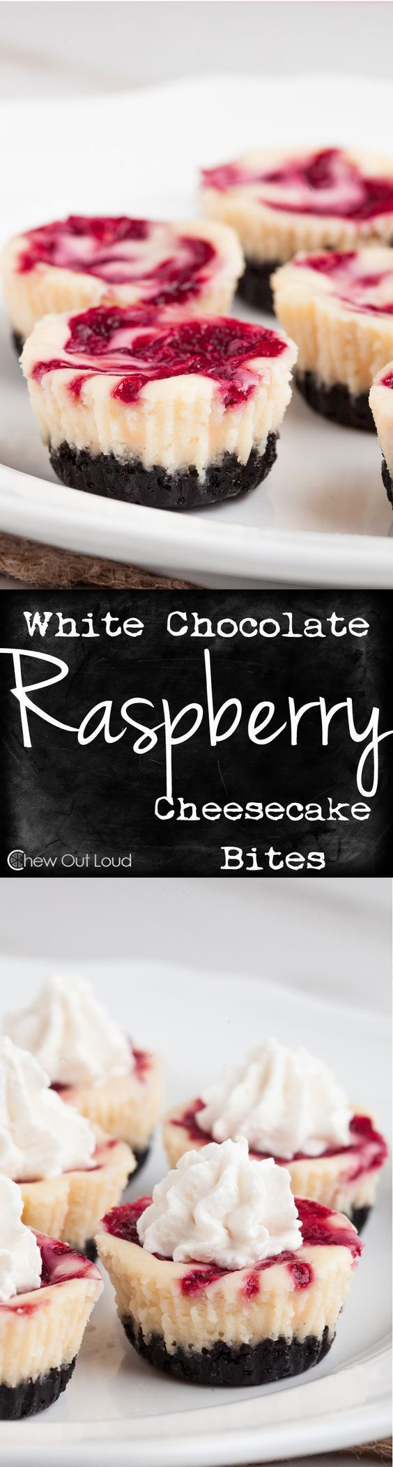 White Chocolate Raspberry Cheesecake Bites Individual Servings Dessert Recipe via Chew Out Loud - New York Style dense, rich, luscious cheesecakes that you can pop into your mouth. A dessert idea perfect for any occasion. #whitechocolateraspberrycheesecake