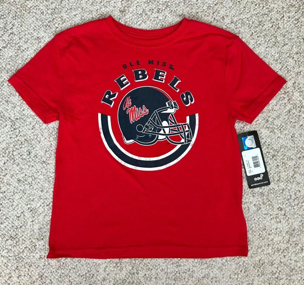 Child Size 7 Ole Miss Rebels Football T Shirt Red Navy Blue Helmet Boy Kid Youth Gen2 Olemissrebels College Football Clothes Ole Miss Rebels Football Outfits Football Helmets