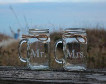 Engraved Mason Jar Mugs,  Wedding Toasting glasses, Engagement Gift, Couples Gift, Personalized Mason Jar Mugs