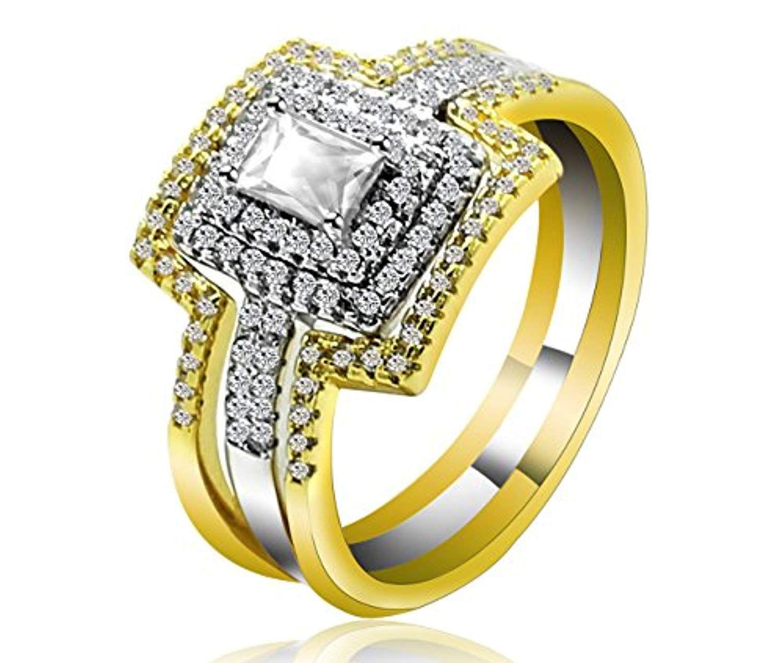 Gold Platinum 2 Tone Plated Halo 3 PCS Bridal Set Wedding