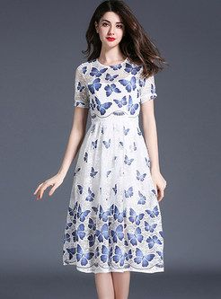 Lace Mesh Butterfly Design Print Short Sleeve Skater Dress  fb13e2f19