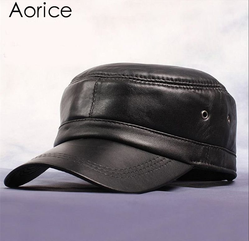 93b9b09076f HL071 Genuine Leather Rider Style Cowhide Fashion Army Cap Box Hat Cadet  Visor men s hats caps