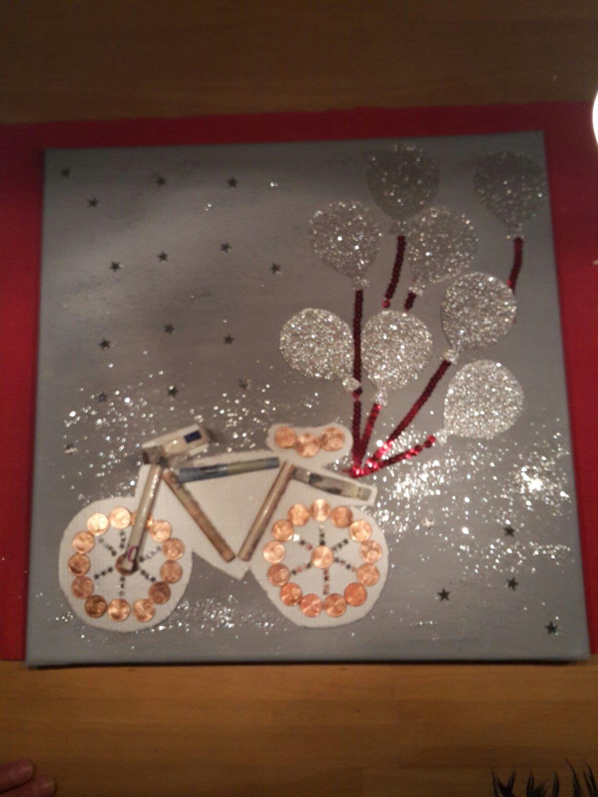 geschenk basteln geld fahrrad leinwand geschenke pinterest. Black Bedroom Furniture Sets. Home Design Ideas