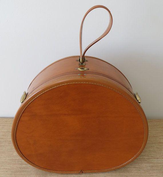 Reserved Vintage Samsonite Train Hat Box Luggage Style 4620 Hat Case Saddle Brown Mid Century Train Case