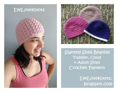 Slanted Shell Beanie - Toddler, Child, Adult Sizes - Free Crochet ...