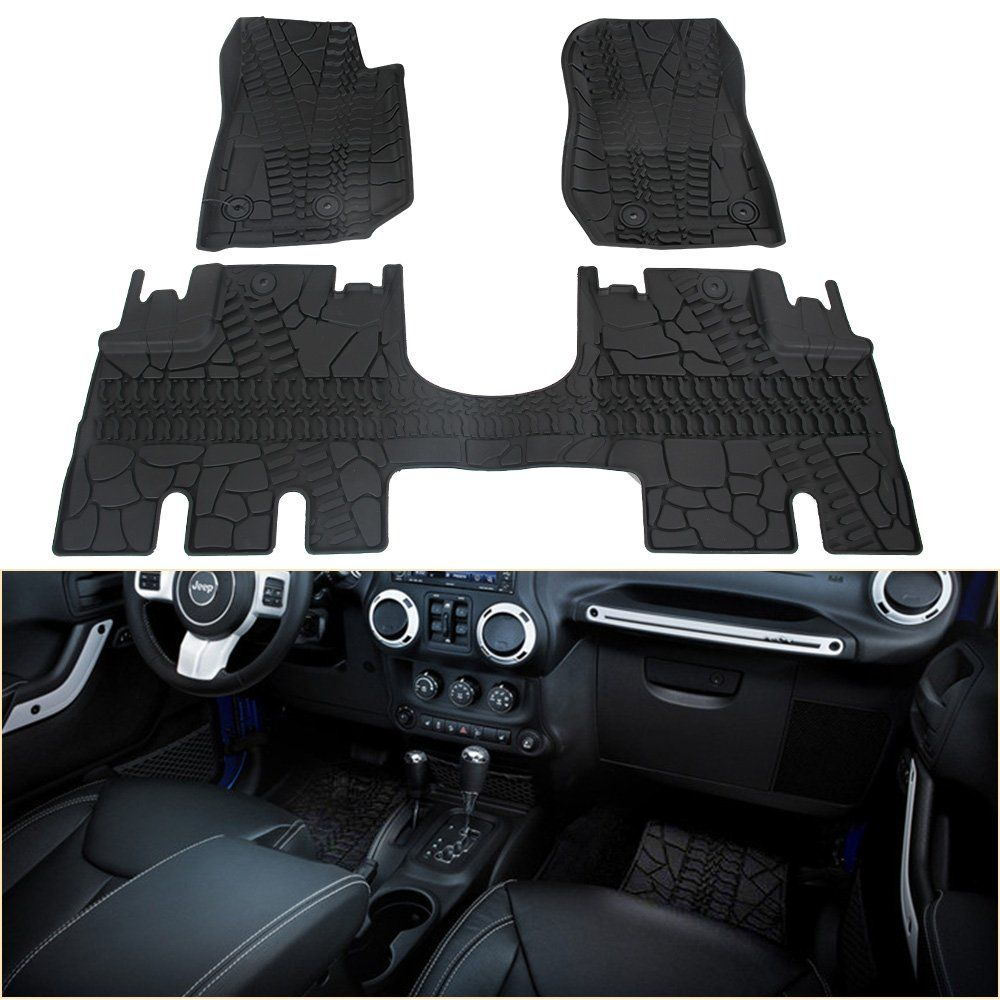 Winunite Front And Rear Black Slush Floor Mats For 2014 2018 Jeep Wrangler Jk 4 Door Unlimited All Weather Guard Tpe Jeep Wrangler Jk Jeep Wrangler Wrangler Jk
