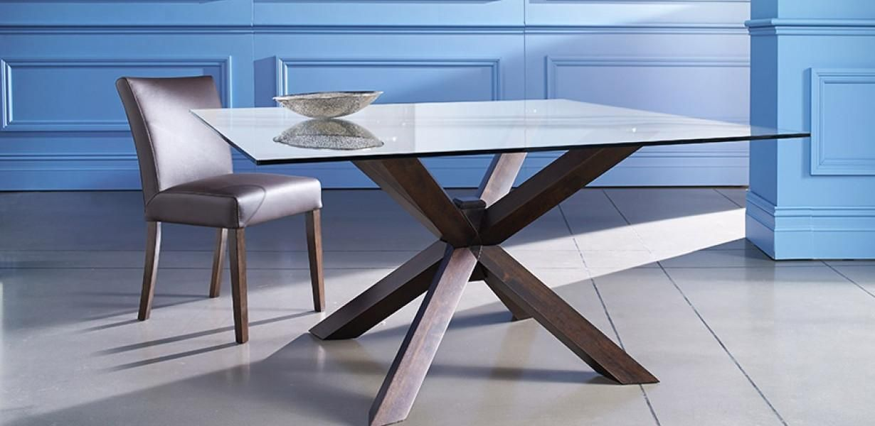 The quattro is a stunning glass top 8 seater dining table with its the quattro is a stunning glass top 8 seater dining table with its 150cm square glass top and intersecting timber legs made from wenge watchthetrailerfo