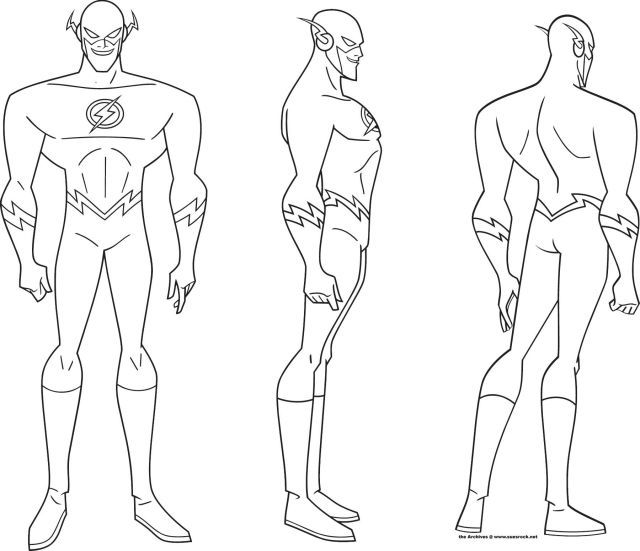 Comic Book Character Design Template : Justice league the flash turnaround coloring pages