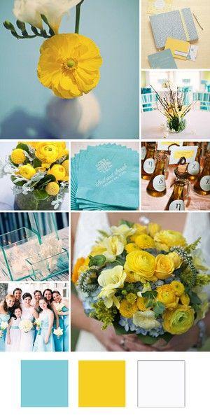 wedding color combination: aqua/light blue, yellow and white ...
