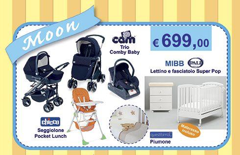 Moon Trio Cam Combi Baby + Lettino + Fasciatoio + Materasso + ...