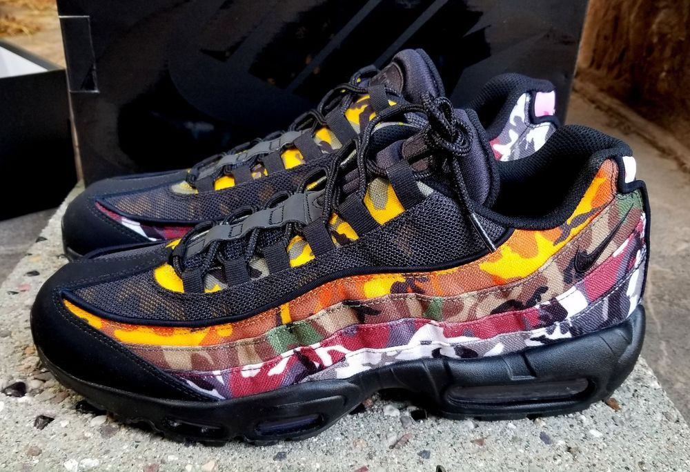 4d7b6528953 NIKE AIR MAX 95 ERDL PARTY BLACK Multi-Color Camo Print Sneakers MEN S 12  NIB  Nike  RunningCrossTraining