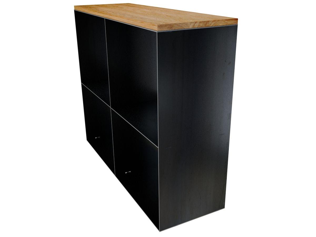 gro es kaminholzregal f r innen rohstahl mit eiche stahlm bel pinterest holz metall und. Black Bedroom Furniture Sets. Home Design Ideas
