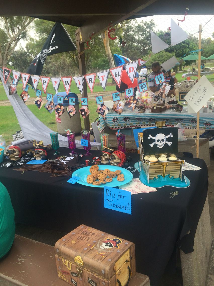 Pirate gear and treats table. Adults and kids loved dressing up as pirates.