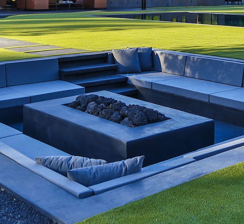 Backyard design idea create a sunken fire pit for for Modern fire pit ideas