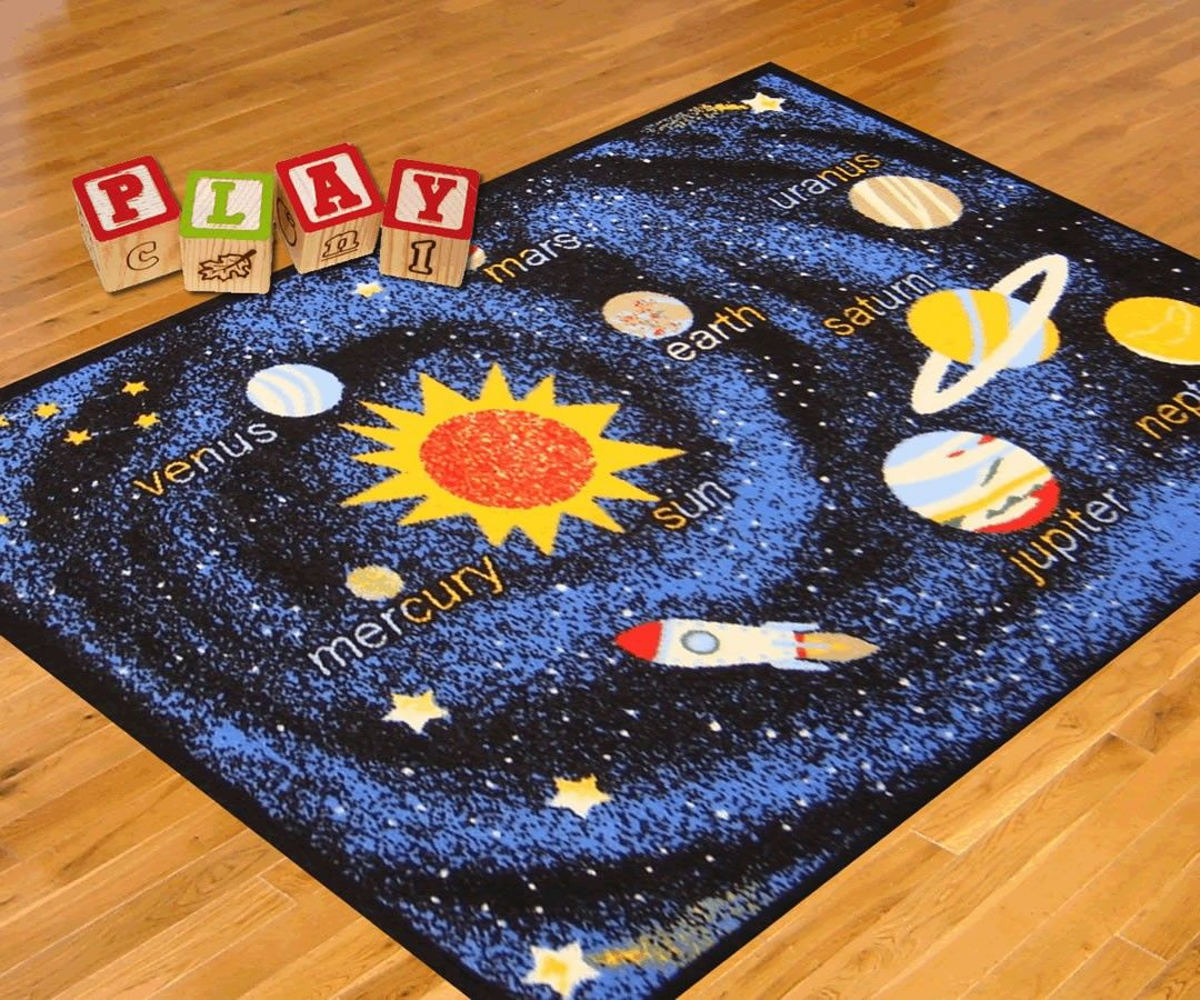 Exceptional Rug Lots Concord Global Fun Time Outer Space Navy Blue Kids Rug (0854)
