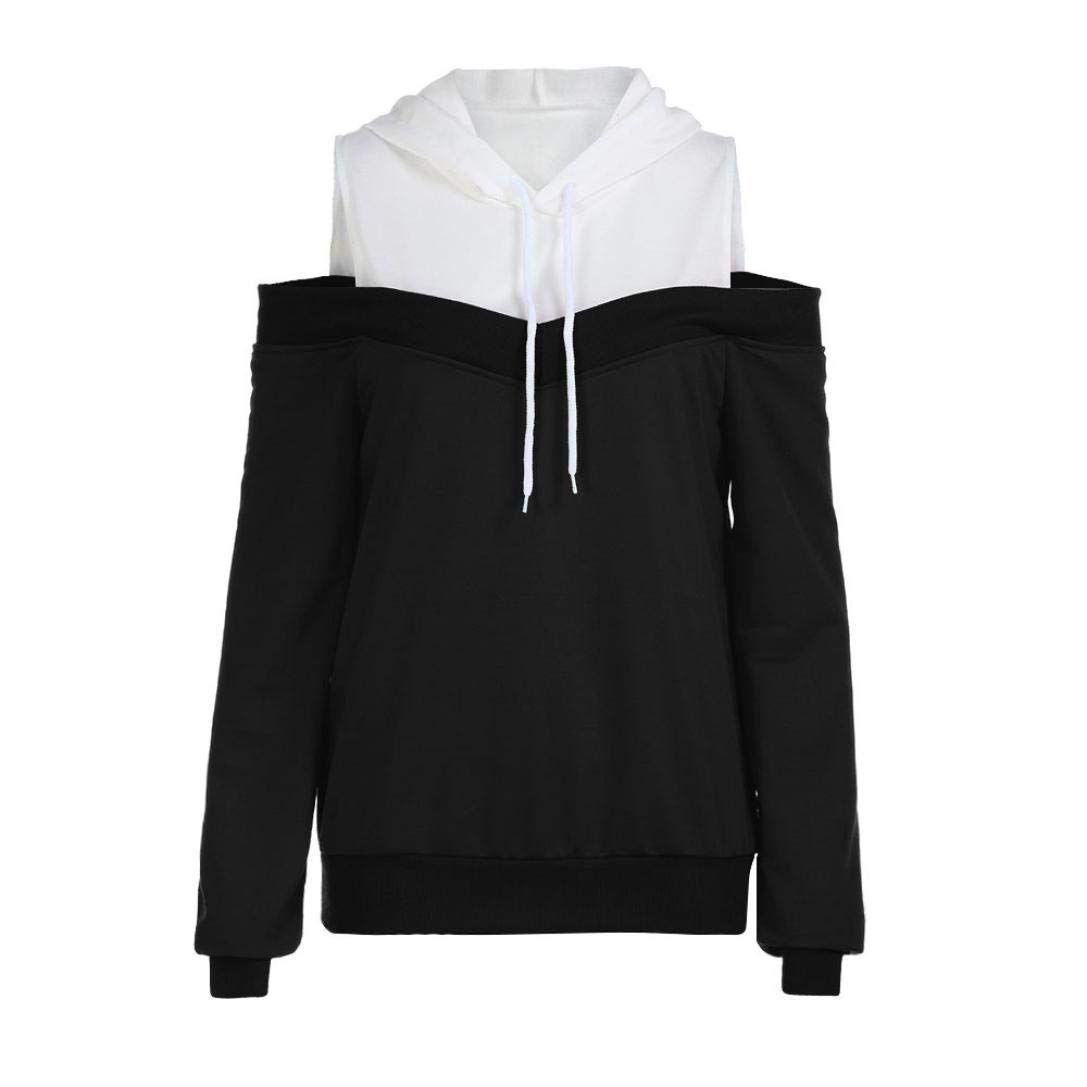 Women Patchwork Hoodie Sweatshirt Sweater Hooded Jumper Coat Pullover Casual Top