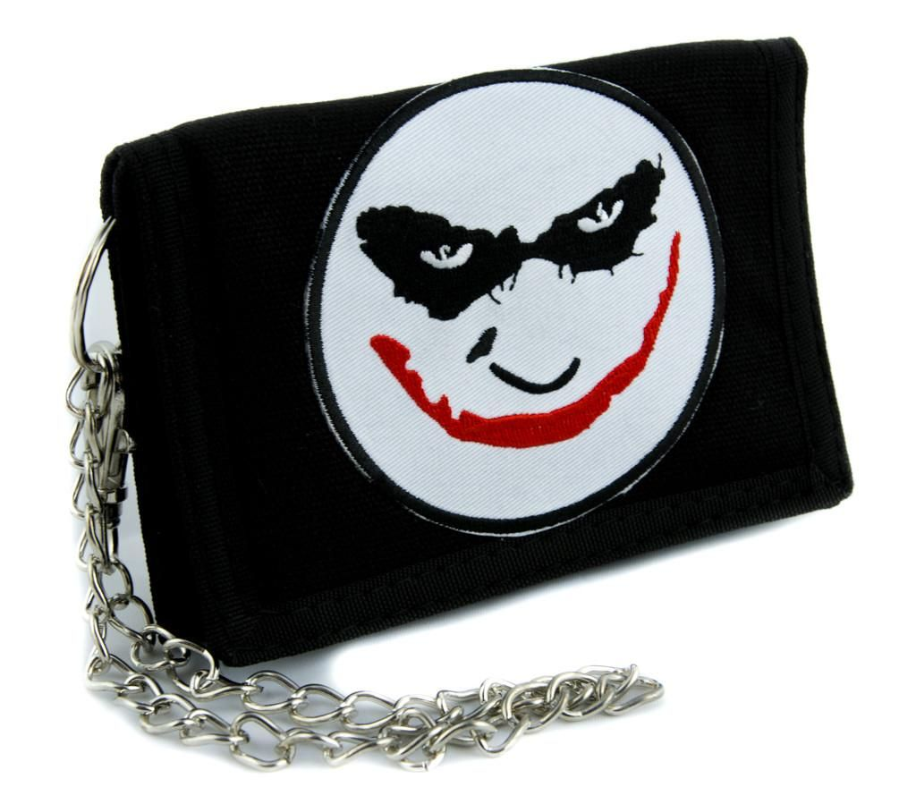 e5312793aaf Heath Ledger The Joker Tri-fold Wallet with Chain Alternative Clothing Dark  Knight Batman