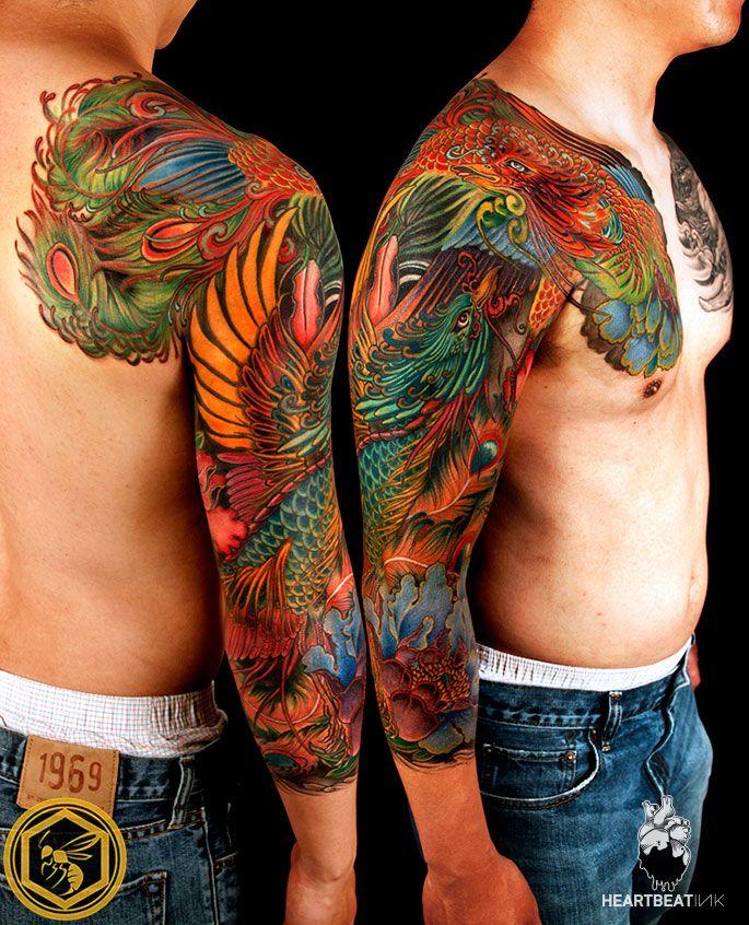 Colored Phoenix Sleeve Tattoo For Men: Tattoos, Phoenix Tattoo Men