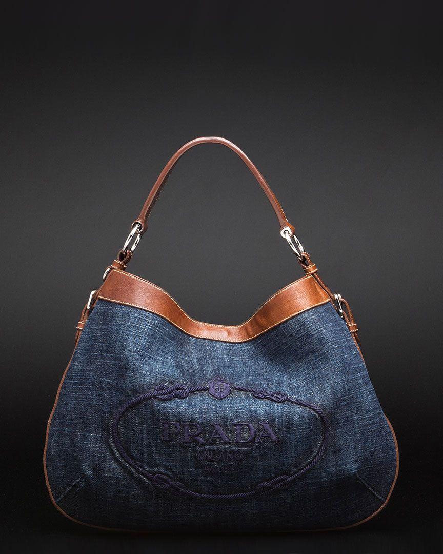 73c08aaf4d72 Prada Denim & Leather Hobo Bag   handbags and shoes   Denim bag ...