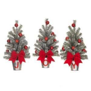 Create A Serene Look To Your Christmas Decor By Choosing This Home Accents Holiday Snowy Silver Glitter Mini Pine Trees In J O Y Buckets Set
