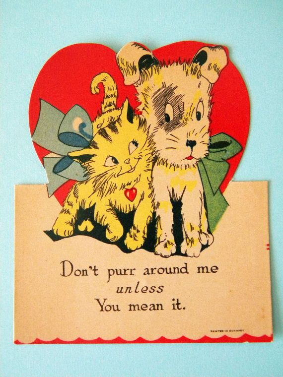 vintage valentine's day card cat and dog don't purr  etsy