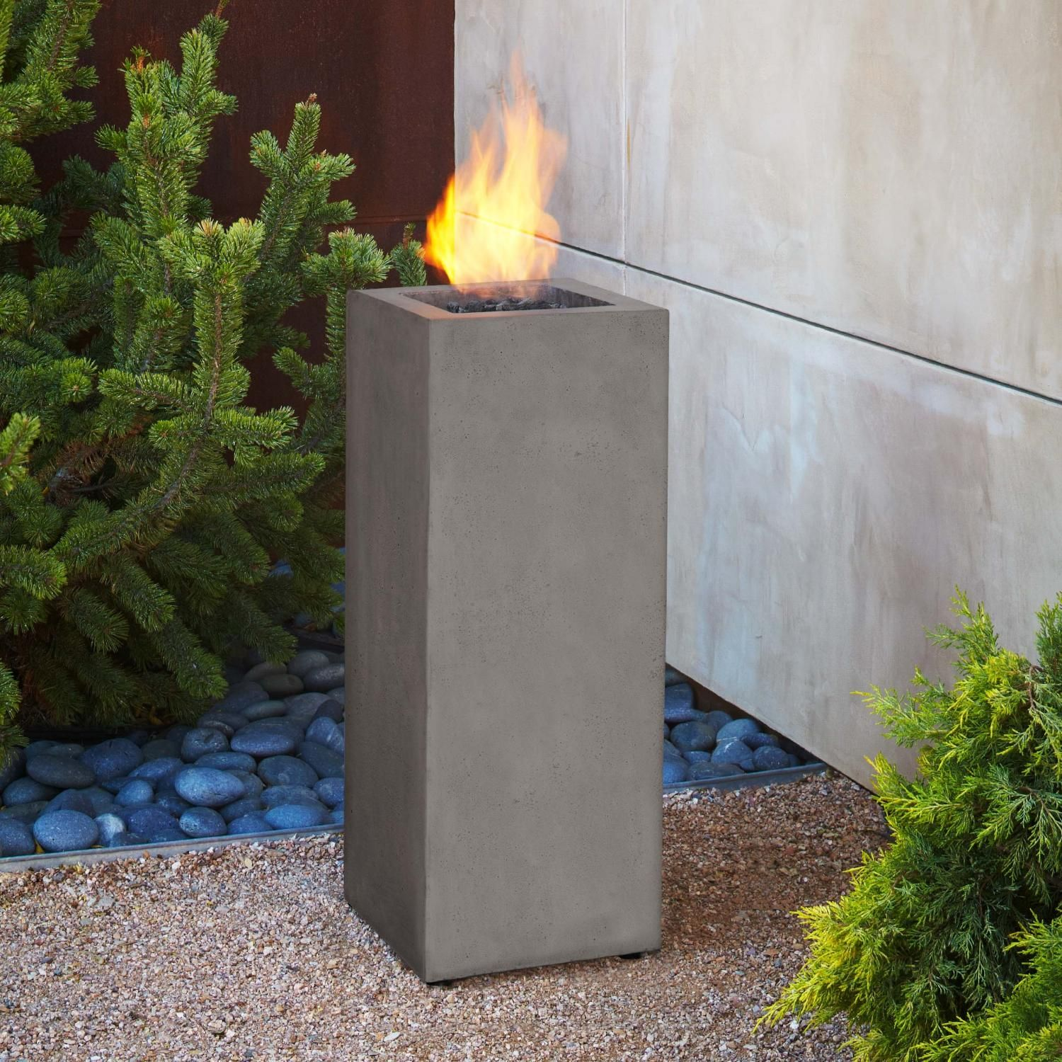 Real Flame Baltic 34 Inch Tall Propane Gas Fire Pit Column Glacier Gray 9605lp Glg Outdoor Fire Real Flame Gas Firepit