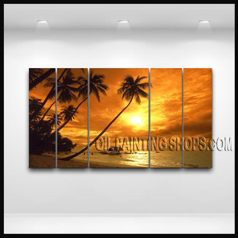 Enchant Contemporary Wall Art Hand Painted Oil Painting Stretched Ready To Hang Hawaii Beach. This 5 panels canvas wall art is hand painted by E.Cheung, instock - $199. To see more, visit OilPaintingShops.com