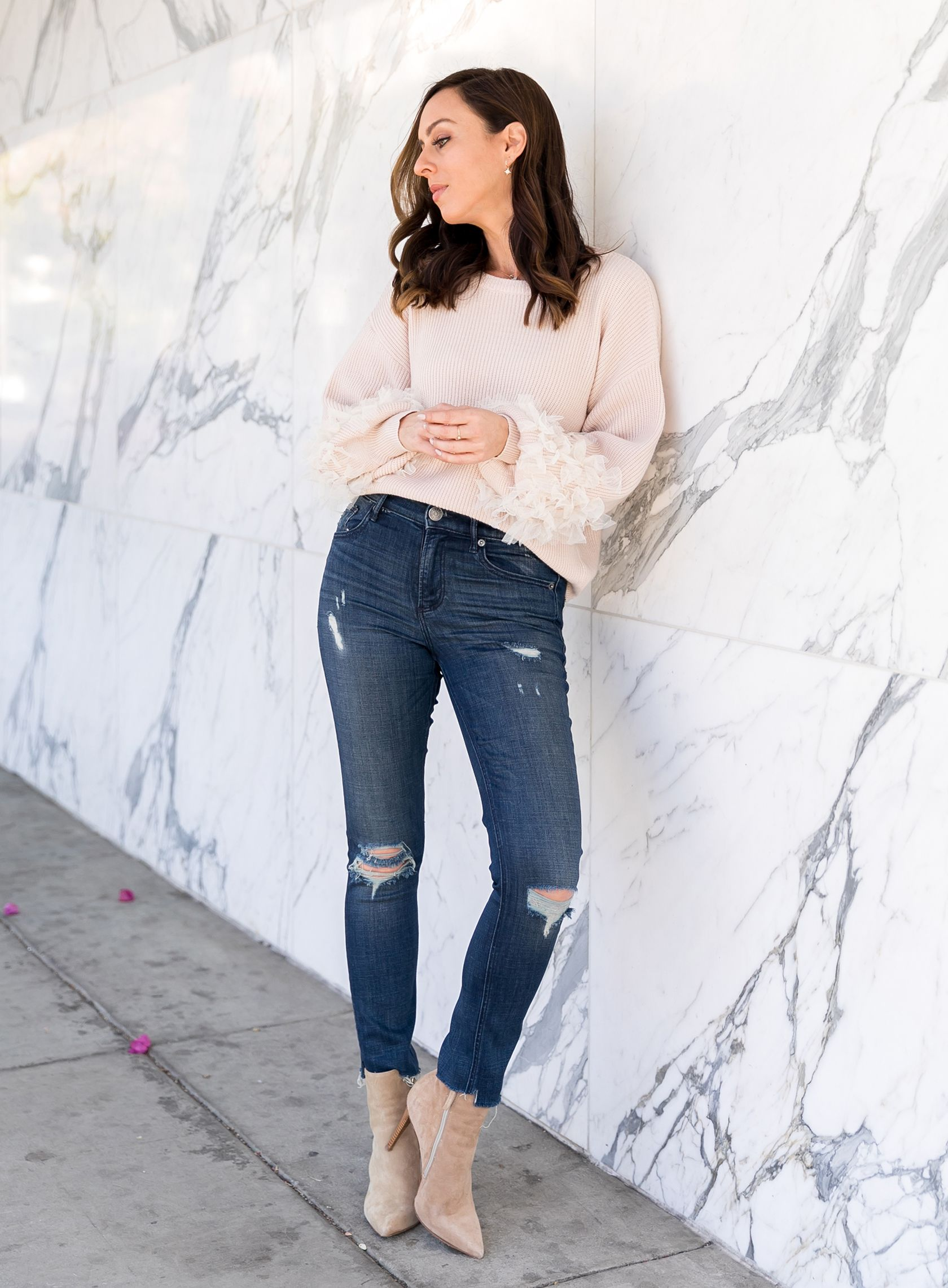 5965e39f84918 Sydne Style wears forever 21 tulle sleeve sweater #tulle #jeans #sweaters  #booties #marble @sydnesummer