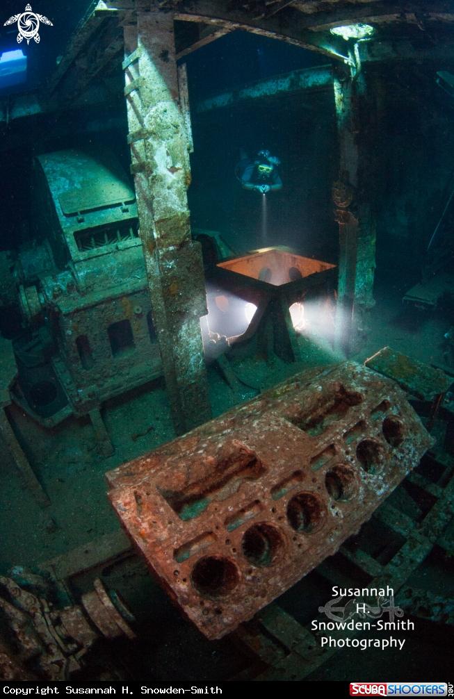 Titanic Engine Room Underwater: Engine Room Of USS Kittiwake Shipwreck In Grand Cayman