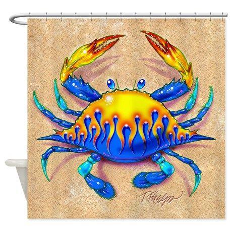Flamed Blue Crab Shower Curtain On Cafepress Com Blue Crab Crab