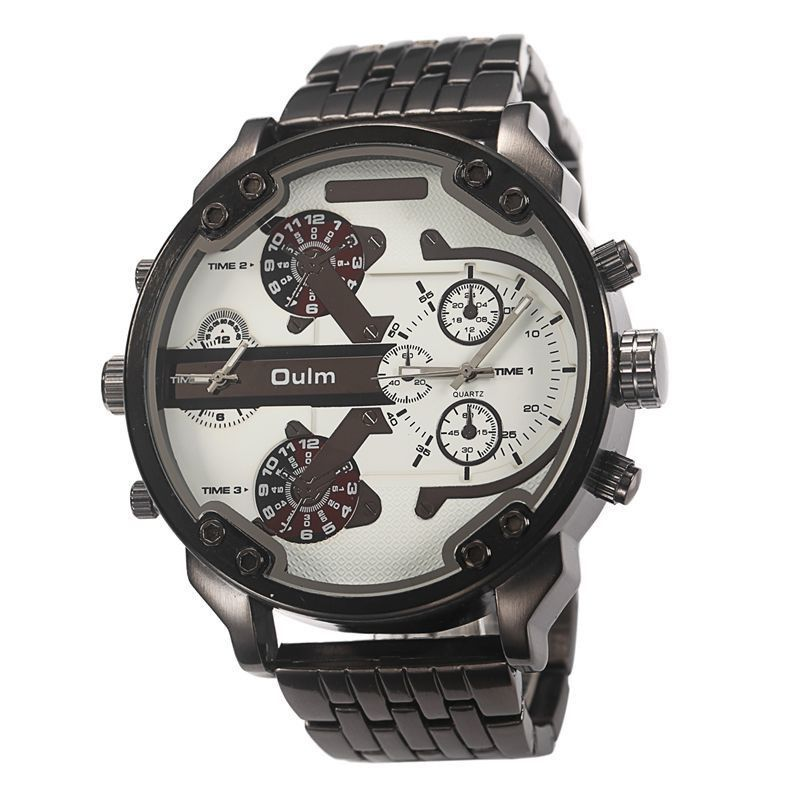50mm Olum Mens Watch Metal Band in Black and White Face