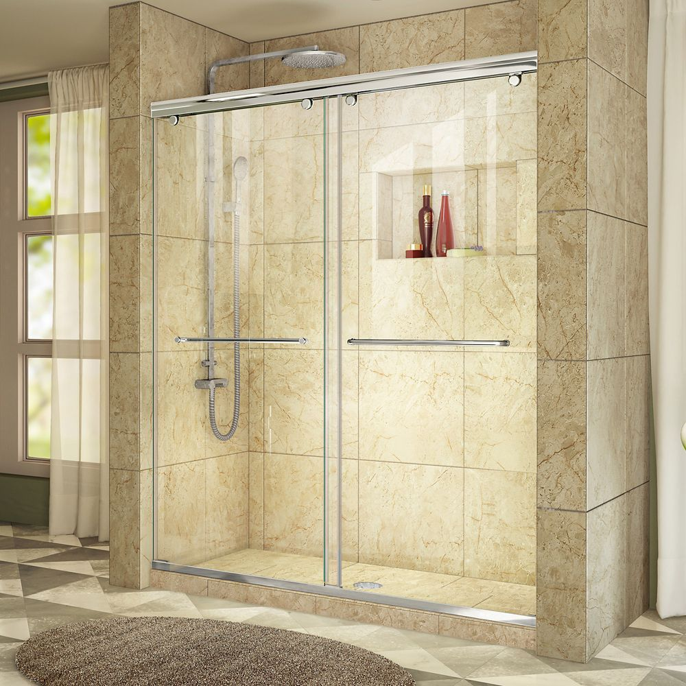 Charisma 56 Inch To 60 Inch X 76 Inch Frameless Sliding Shower Door In Chrome Shower Doors Tub To Shower Conversion Frameless Sliding Shower Doors