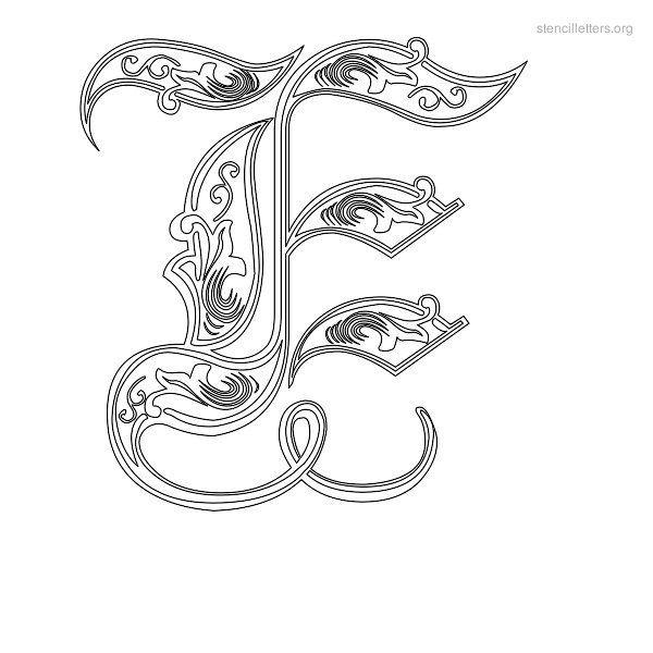 Stencil Letter Decorative E Jades World Pinterest Lettering
