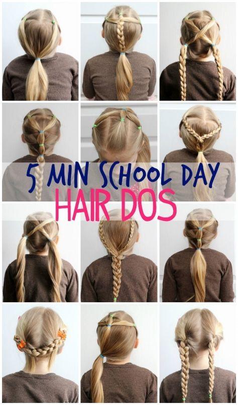 5 Minute School Day Hair Styles | Hair dos, Hair style and Hair kids