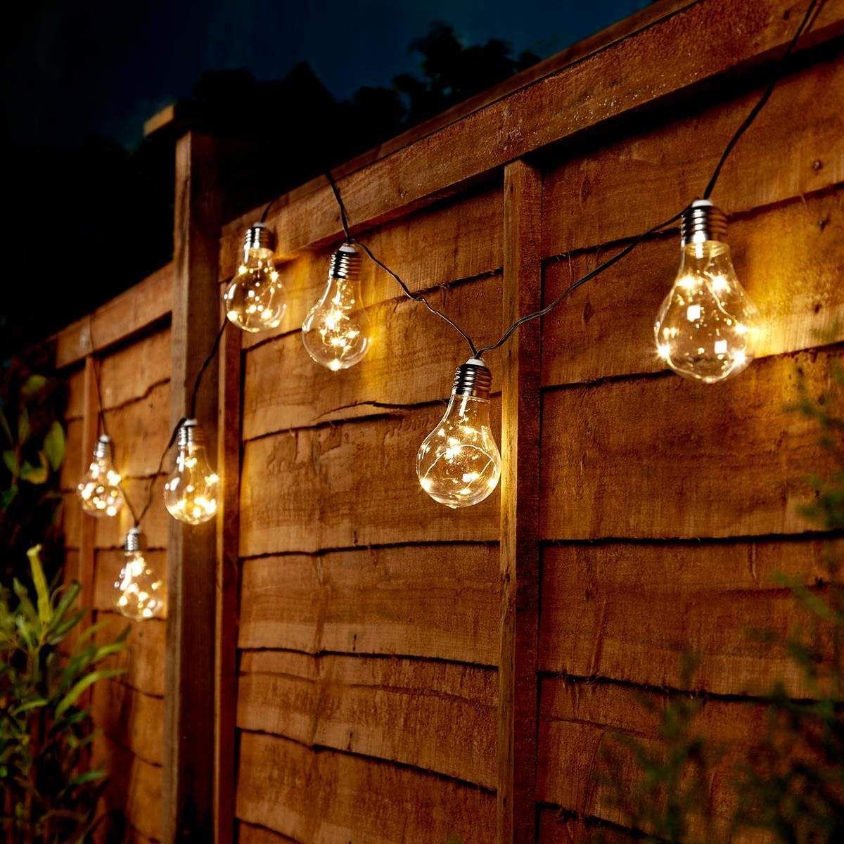New 10 Solar Led Bulb String Lights Outdoor Hanging Fairy Bright White Garden
