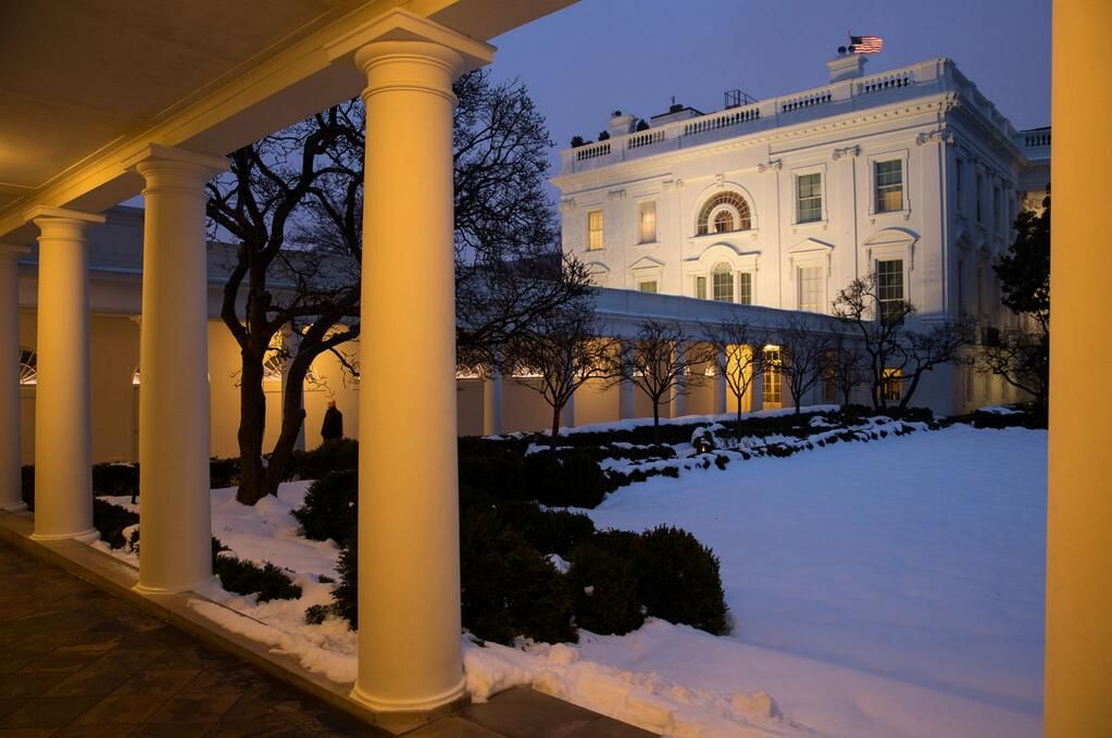 The White House colonnade moments ago at dusk on February 13th, 2014. (Photo: Pete Souza)