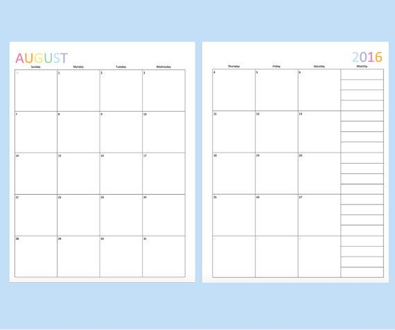 Printable 2016 Calendar Has Each Month On Two Pages Stay Organized