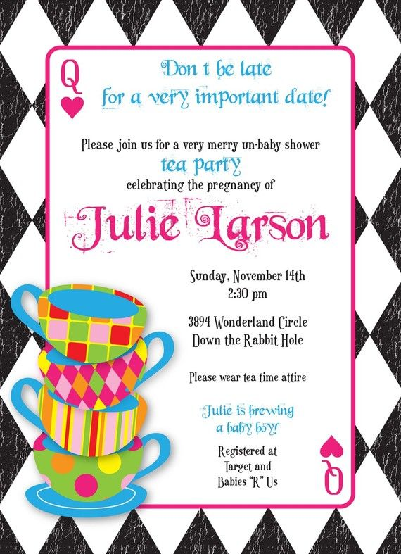 Mad hatter tea party custom baby shower invitation mad hatter mad hatter tea party custom baby shower invitation from conveying you designs filmwisefo Images