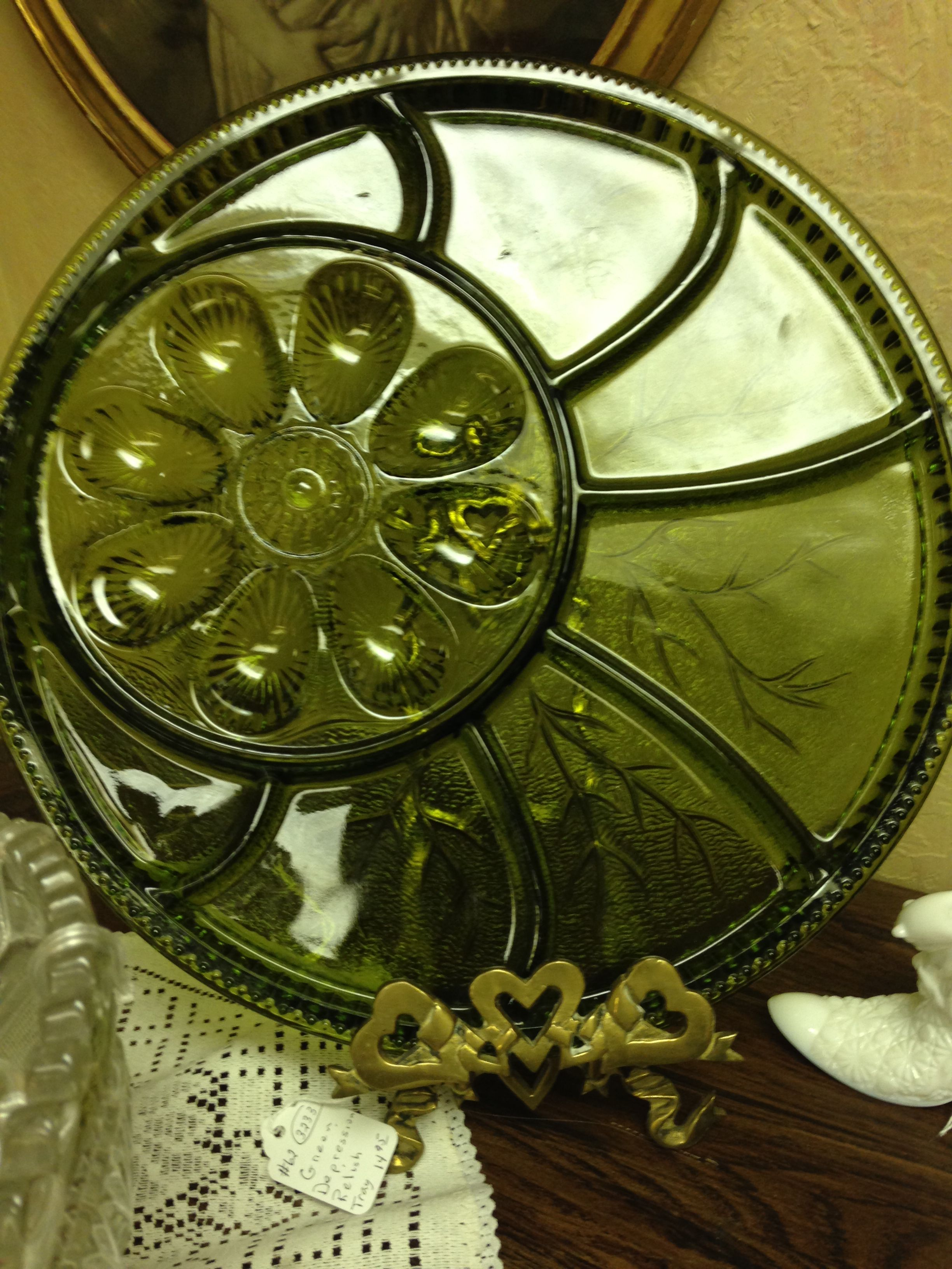 Green glass egg plate at an antique store in Norman, Oklahoma. (I own one of these).
