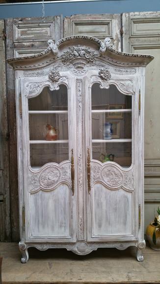 Armoire normande vitrine de mariage XIXeme Meubles relooké