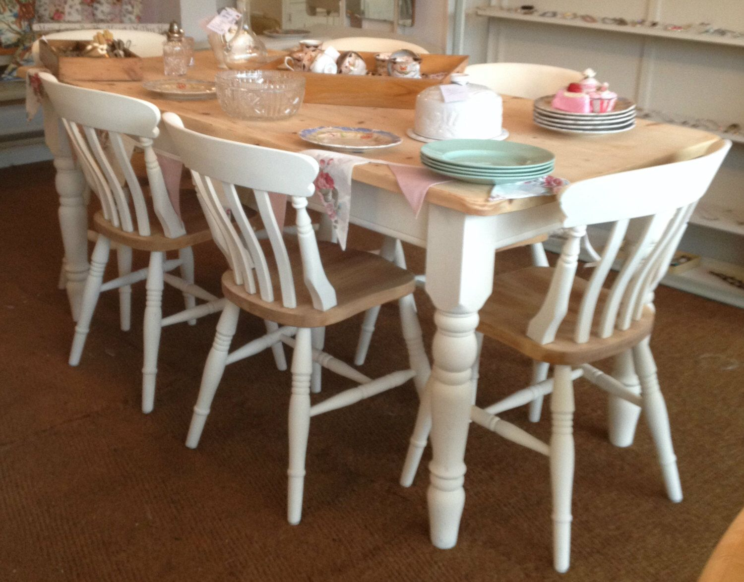 Pine Chairs, Farmhouse Pine Dining Chairs ~ Set of 9/9/9 Bespoke ...